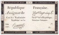 France 125 Livres - 7 Vendémiaire An II - 1793 - Sign. Brunet - TTB