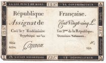 France 125 Livres - 7 Vendémiaire An II - 1793 - Sign. Capron - F to VF