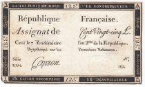 France 125 Livres - 7 Vendémiaire An II - 1793 - Sign. Capron - PTTB