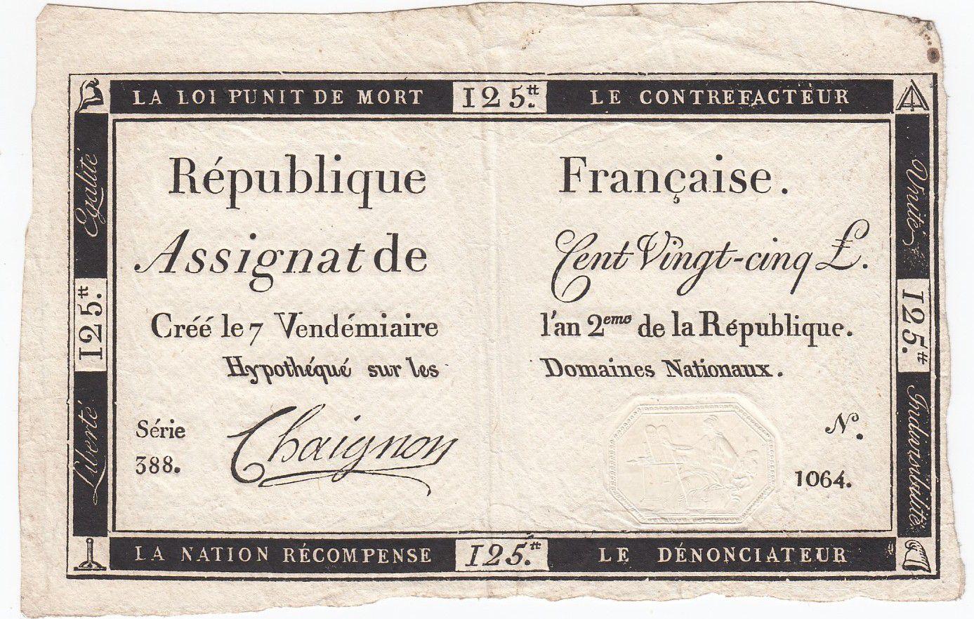 France 125 Livres - 7 Vendémiaire An II - 1793 - Sign. Chaignon - TTB+