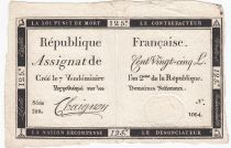 France 125 Livres - 7 Vendémiaire An II - 1793 - Sign. Chaignon - VF+