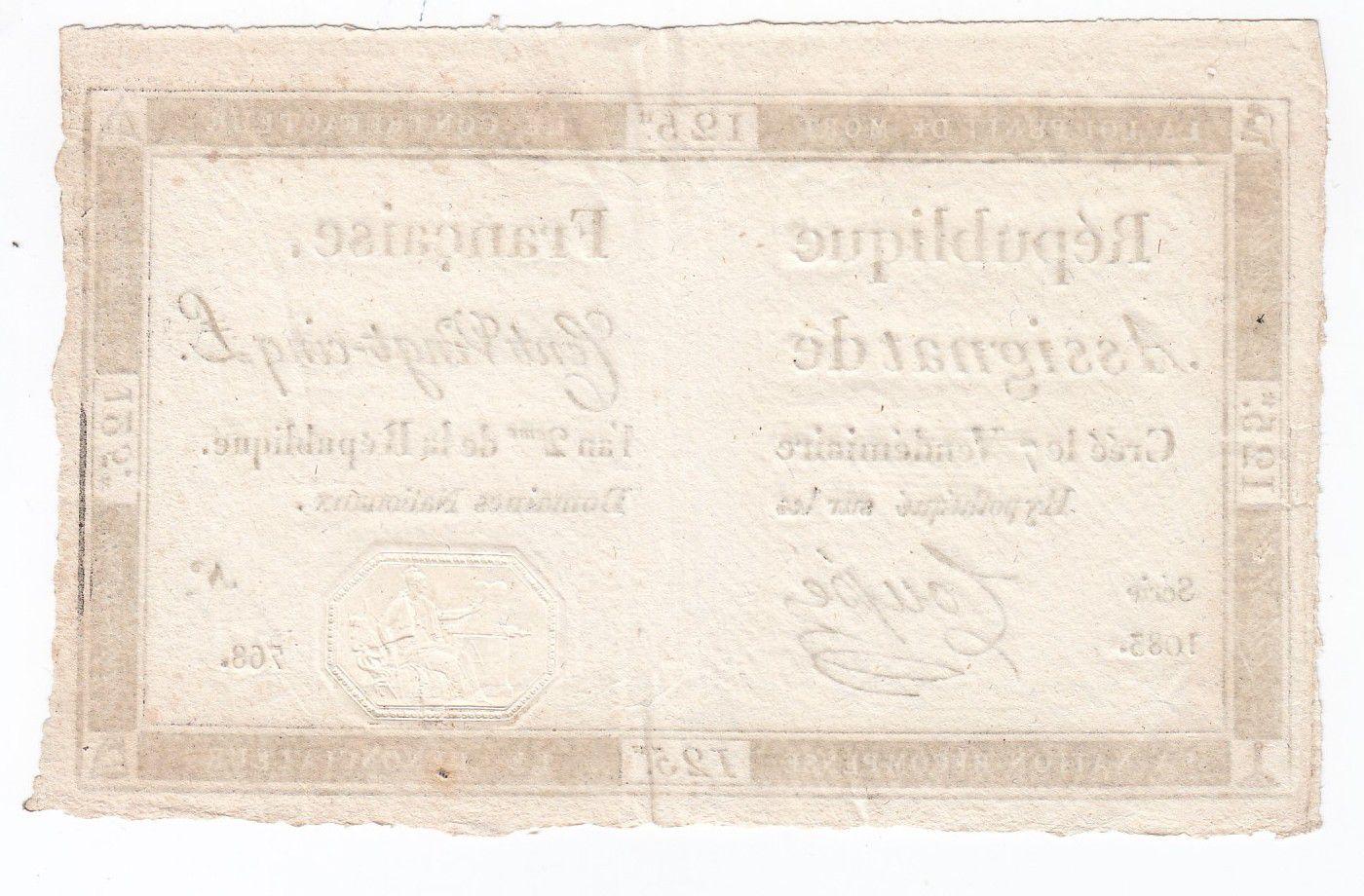 France 125 Livres - 7 Vendémiaire An II - 1793 - Sign. Coupé - SUP