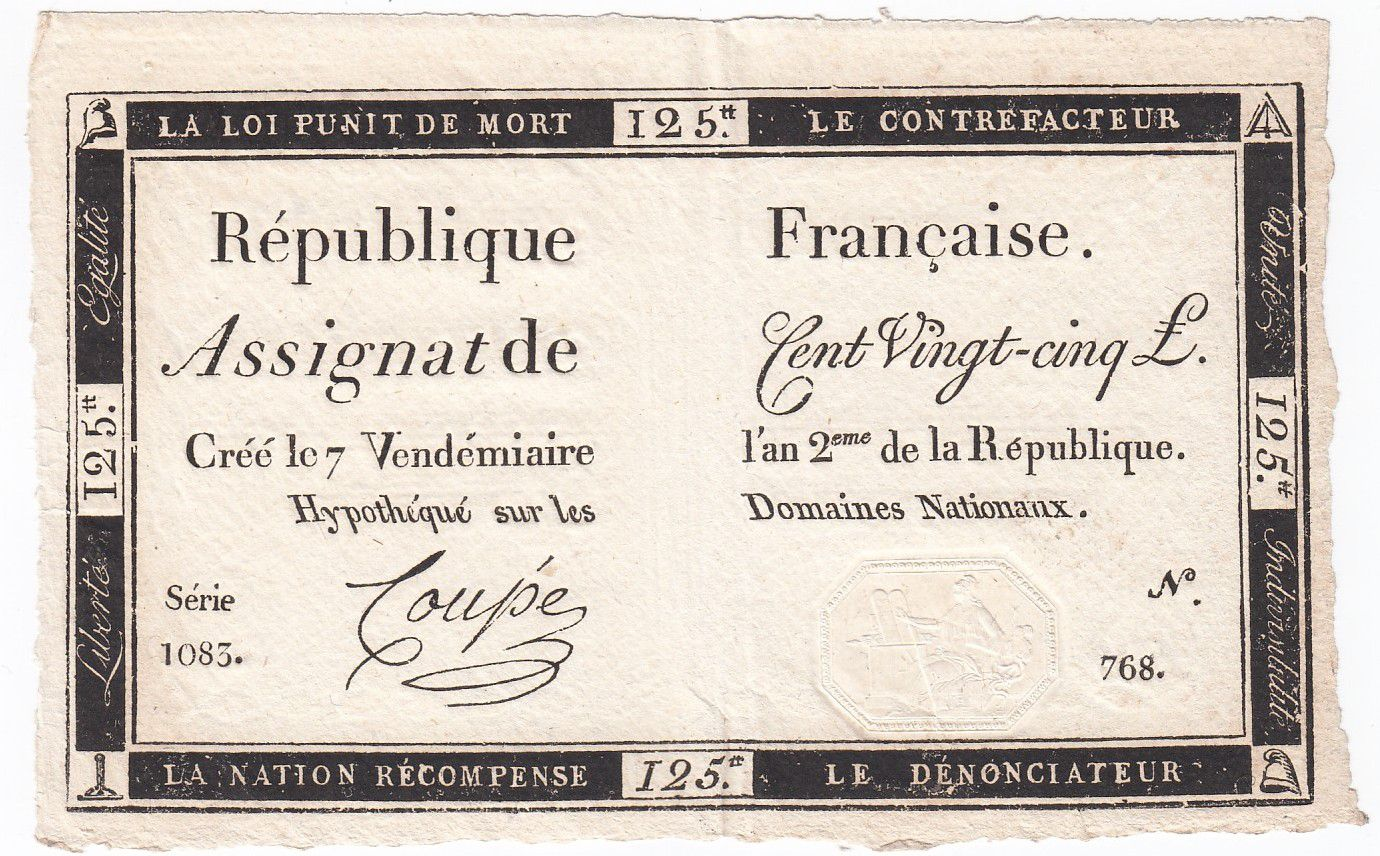 France 125 Livres - 7 Vendémiaire An II - 1793 - Sign. Coupé - XF