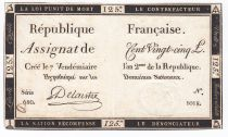 France 125 Livres - 7 Vendémiaire An II - 1793 - Sign. Delaistre - VF+