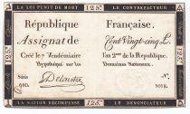 France 125 Livres - 7 Vendémiaire An II - 1793 - Sign. Delaistre - VF+