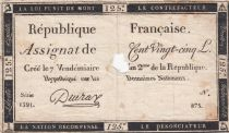 France 125 Livres - 7 Vendémiaire An II - 1793 - Sign. Deuraz