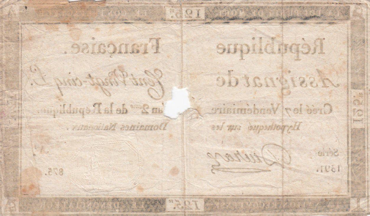 France 125 Livres - 7 Vendémiaire An II - 1793 - Sign. Deuraz