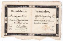 France 125 Livres - 7 Vendémiaire An II - 1793 - Sign. Doivillier - VF