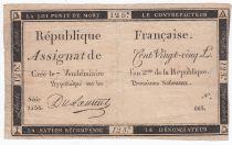 France 125 Livres - 7 Vendémiaire An II - 1793 - Sign. Du Laurent - B
