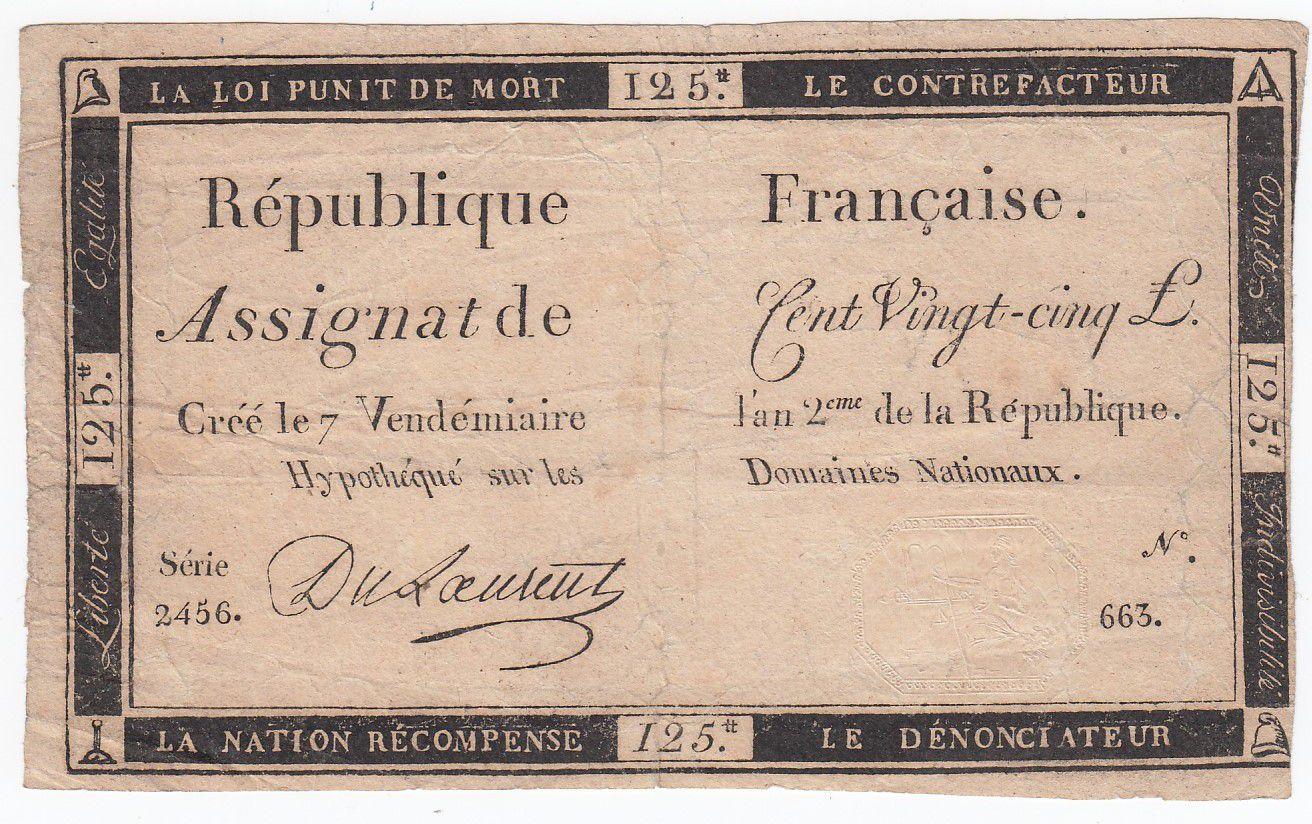 France 125 Livres - 7 Vendémiaire An II - 1793 - Sign. Du Laurent - Good