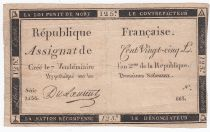 France 125 Livres - 7 Vendémiaire An II - 1793 - Sign. Du Laurent - Good