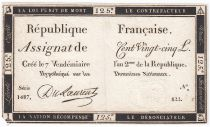 France 125 Livres - 7 Vendémiaire An II - 1793 - Sign. Du Laurent - PTTB
