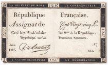 France 125 Livres - 7 Vendémiaire An II - 1793 - Sign. Du Laurent - PTTB