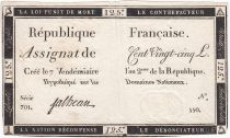 France 125 Livres - 7 Vendémiaire An II - 1793 - Sign. Falheau - TTB