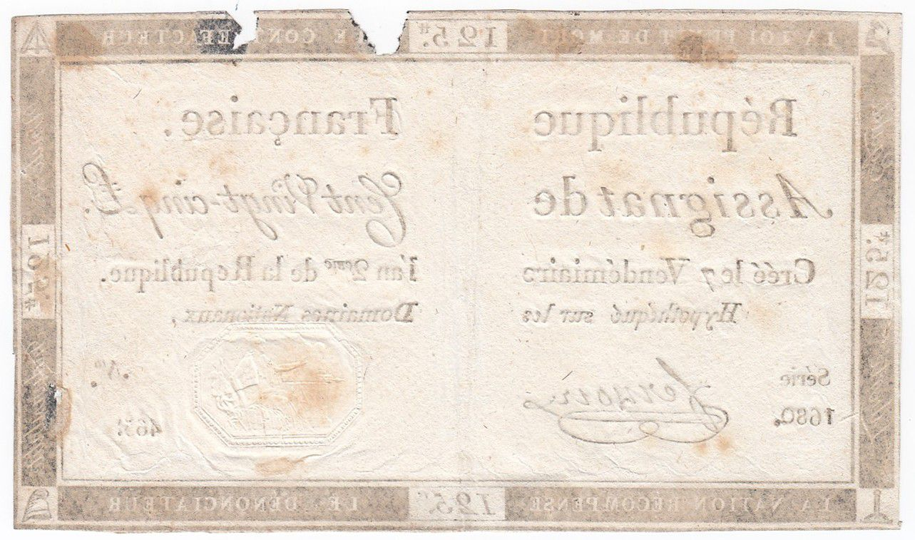 France 125 Livres - 7 Vendémiaire An II - 1793 - Sign. Fernoire - VG to F