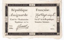 France 125 Livres - 7 Vendémiaire An II - 1793 - Sign. Ftemont - TTB