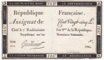 France 125 Livres - 7 Vendémiaire An II - 1793 - Sign. Guilleminet - TTB
