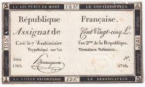 France 125 Livres - 7 Vendémiaire An II - 1793 - Sign. Hennequin - TTB