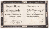 France 125 Livres - 7 Vendémiaire An II - 1793 - Sign. Hennequin - VF