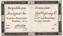 France 125 Livres - 7 Vendémiaire An II - 1793 - Sign. Hombert - VF+