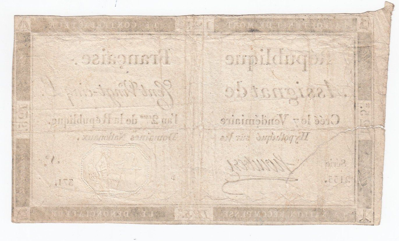 France 125 Livres - 7 Vendémiaire An II - 1793 - Sign. Hombert - VG to F