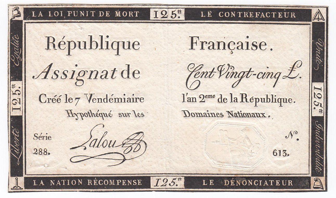France 125 Livres - 7 Vendémiaire An II - 1793 - Sign. Lalou - VF+