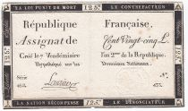 France 125 Livres - 7 Vendémiaire An II - 1793 - Sign. Laurier - TTB+