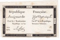 France 125 Livres - 7 Vendémiaire An II - 1793 - Sign. Le Fuel - TTB