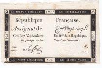France 125 Livres - 7 Vendémiaire An II - 1793 - Sign. Le Fuel - TTB