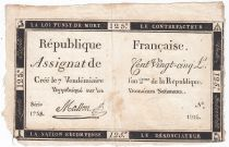 France 125 Livres - 7 Vendémiaire An II - 1793 - Sign. Masson- TB+