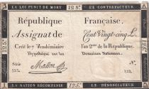 France 125 Livres - 7 Vendémiaire An II - 1793 - Sign. Masson