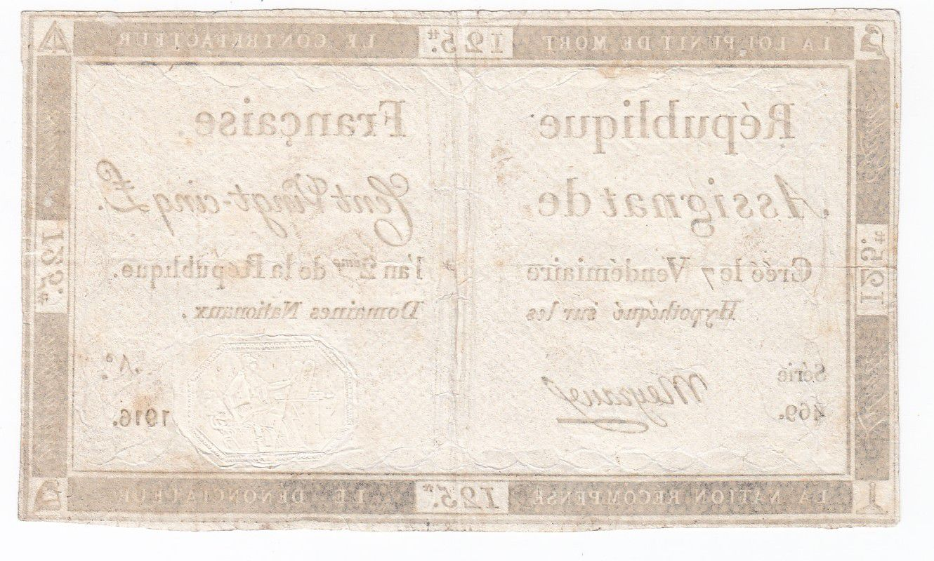 France 125 Livres - 7 Vendémiaire An II - 1793 - Sign. Mayraus - TB