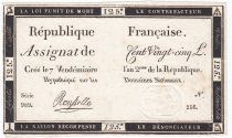 France 125 Livres - 7 Vendémiaire An II - 1793 - Sign. Rousselle - VF