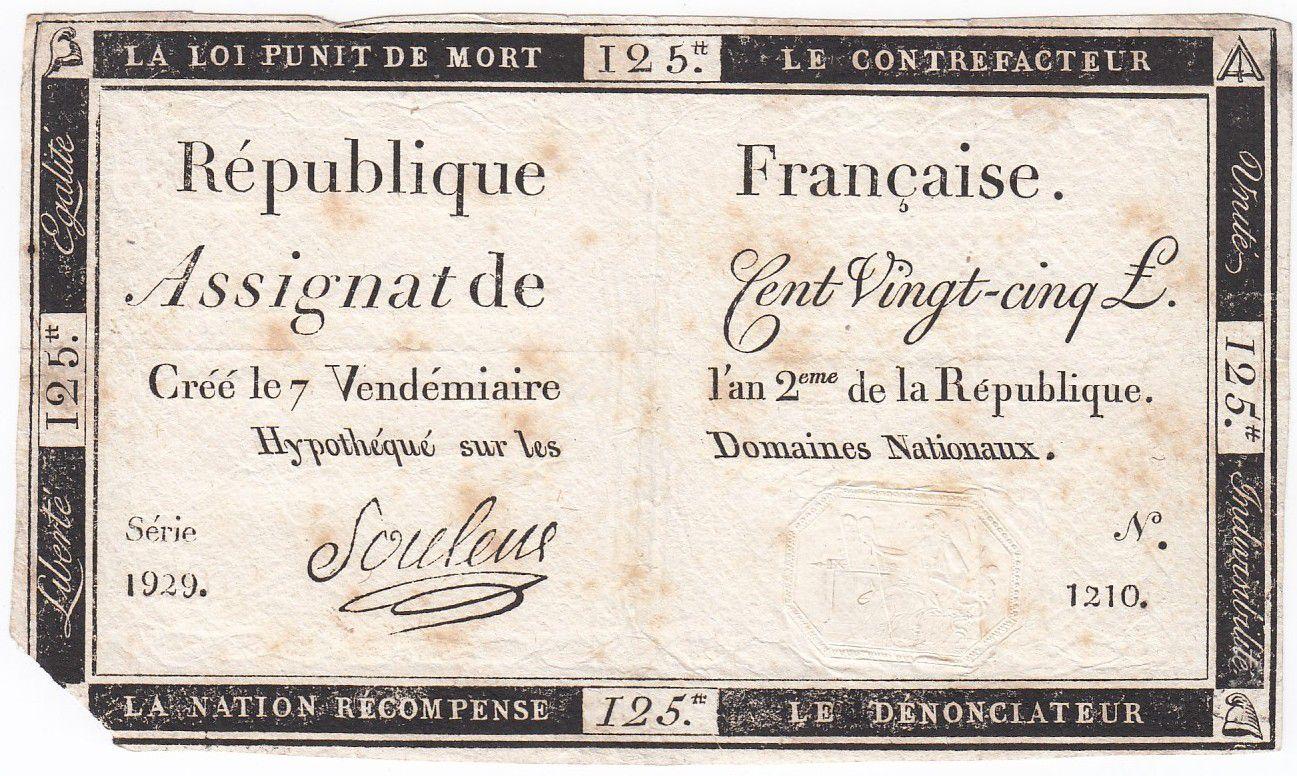 France 125 Livres - 7 Vendémiaire An II - 1793 - Sign. Souleux - PTB