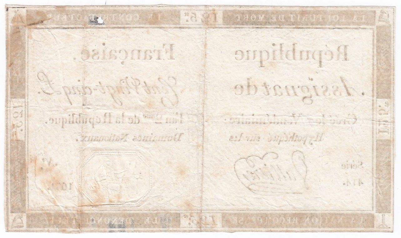 France 125 Livres - 7 Vendémiaire An II - 1793 - Sign. Valliere - VF