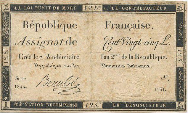 France 125 Livres 7 Vendemiaire An II