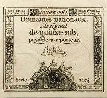 France 15 Sols French Revolution (23-05-1793) - Sign. Buttin - Serial 1174 - XF+