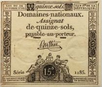 France 15 Sols French Revolution (23-05-1793) - Sign. Buttin - Serial 1185 - Vf to XF