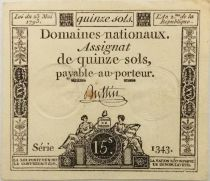 France 15 Sols French Revolution (23-05-1793) - Sign. Buttin - Serial 1343 - XF