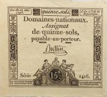 France 15 Sols French Revolution (23-05-1793) - Sign. Buttin - Serial 1416 - XF