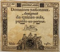 France 15 Sols French Revolution (23-05-1793) - Sign. Buttin - Serial 1487 - F