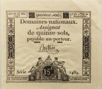 France 15 Sols French Revolution (23-05-1793) - Sign. Buttin - Serial 1489 - XF+