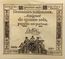 France 15 Sols French Revolution (23-05-1793) - Sign. Buttin - Serial 440 - VF+