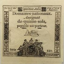 France 15 Sols French Revolution (23-05-1793) - Sign. Buttin - Serial 440 - VF