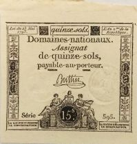 France 15 Sols French Revolution (23-05-1793) - Sign. Buttin - Serial 595 - AU