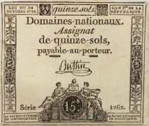 France 15 Sols French Revolution (24-10-1792) - Sign. Buttin - Serial 1262 - F+