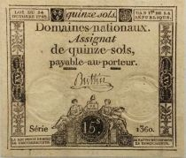 France 15 Sols French Revolution (24-10-1792) - Sign. Buttin - Serial 1360 - XF