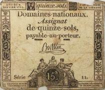 France 15 Sols Liberté et Droit (04-01-1792) - Sign. Buttin - Série 11 - B
