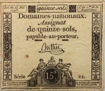 France 15 Sols Liberté et Droit (23-05-1793) - Filigrane La Nation - Sign. Buttin - Série 22 - TB+