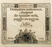 France 15 Sols Liberté et Droit (23-05-1793) - Sign. Buttin - Série 1174 - TTB+